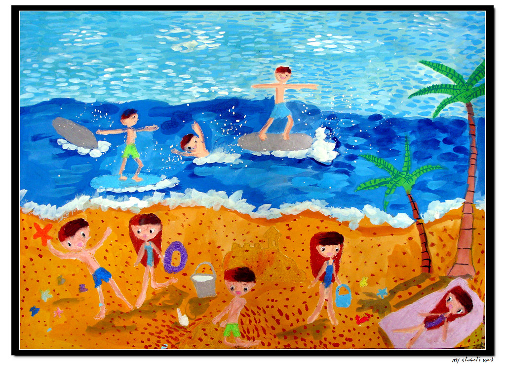 The Beach   1st grader, 7 years old, girl. Poster colors ...