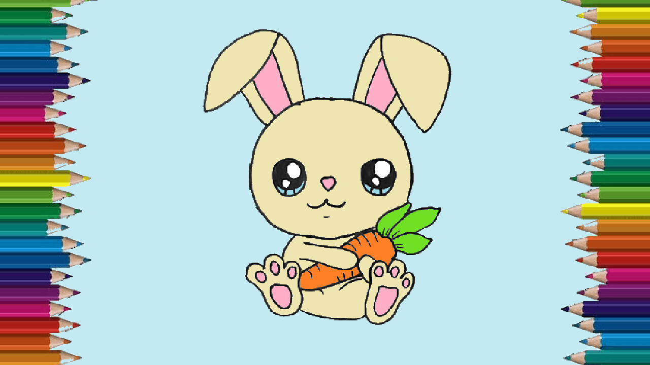How to draw a bunny cute and easy - Cartoon Rabbit drawing ...