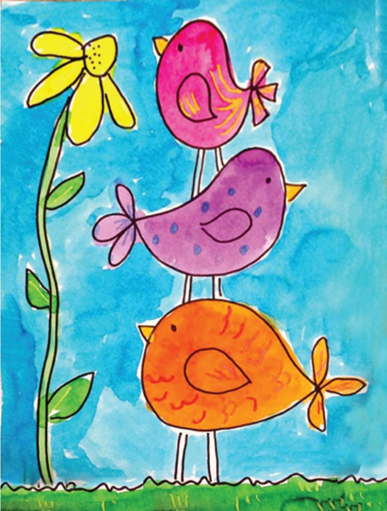 Draw Simple Birds · Art Projects for Kids