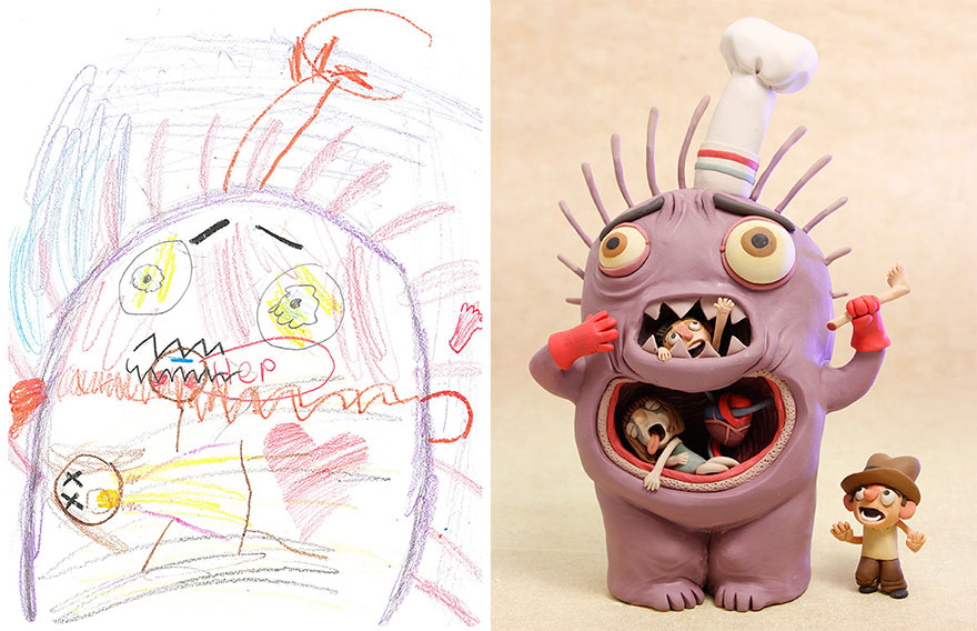 100+ Artists Recreate Kids' Monster Doodles In Their ...