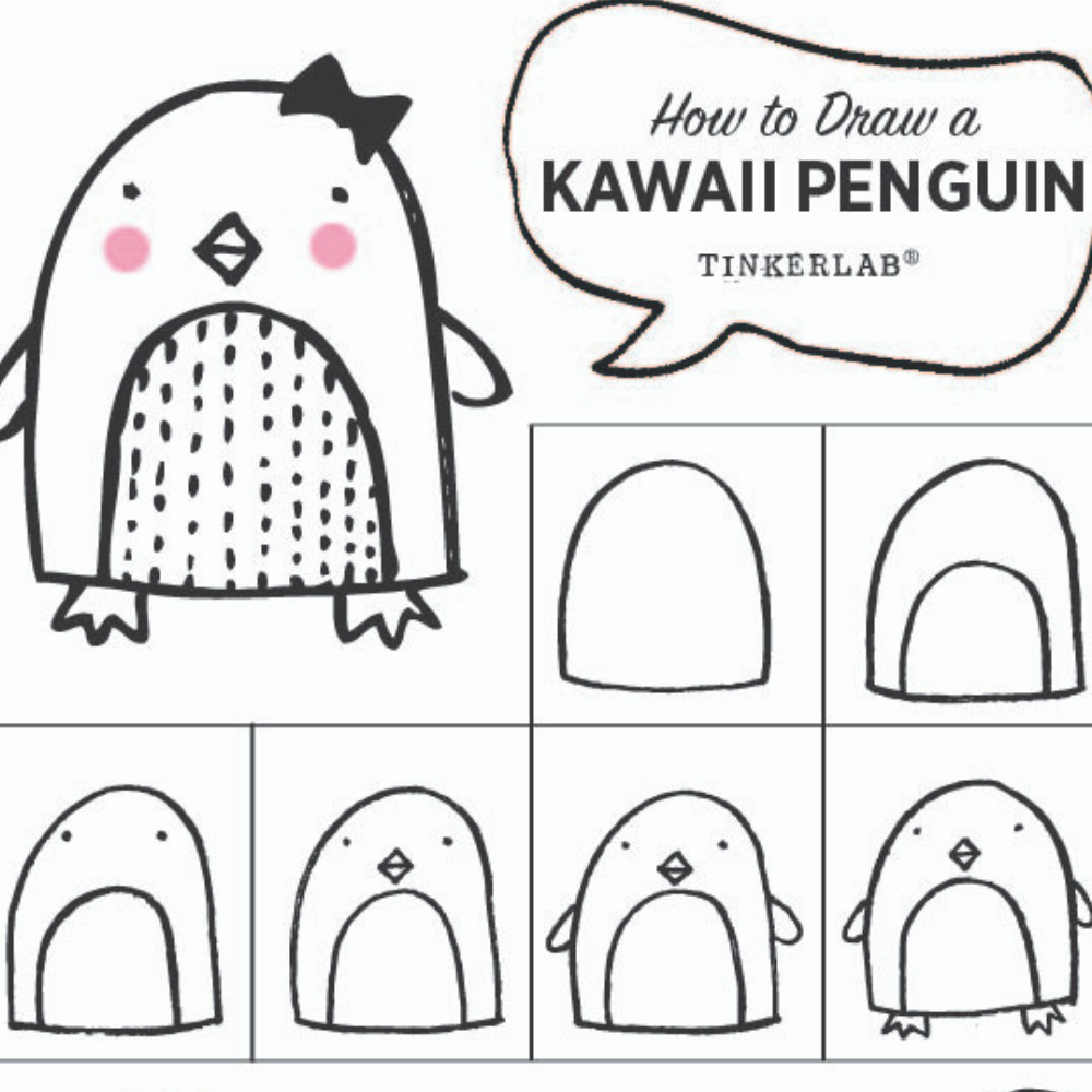 Easy Drawing Ideas | Kawaii Cute Penguin Drawing | TinkerLab