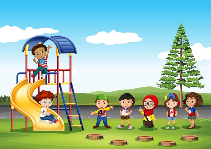 Children playing in the park - Download Free Vector Art ...