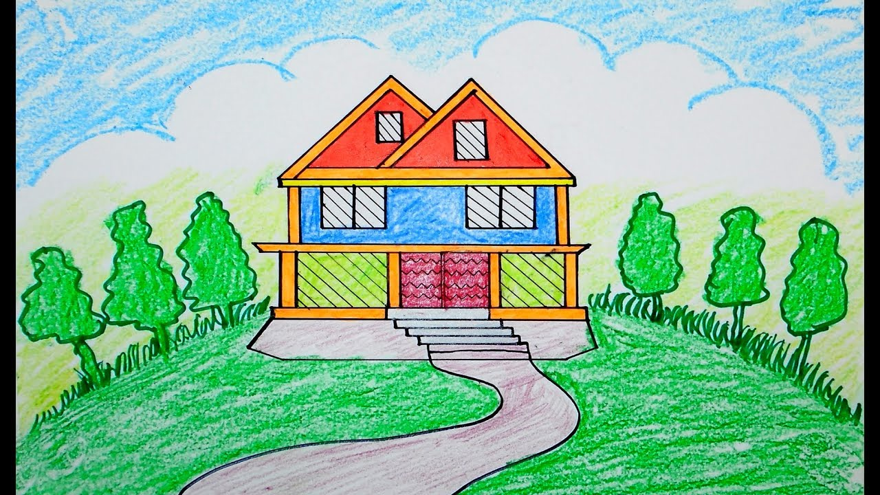 How to draw Scenery, scenery of house, draw for beginners ...