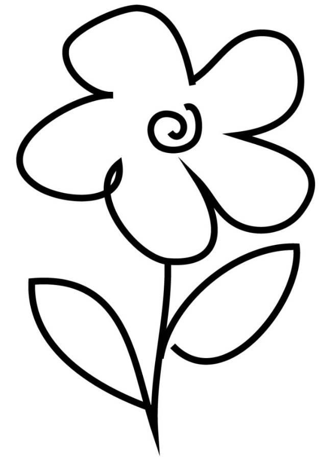 Very Simple Flower Coloring Page For Preschool | Simple ...