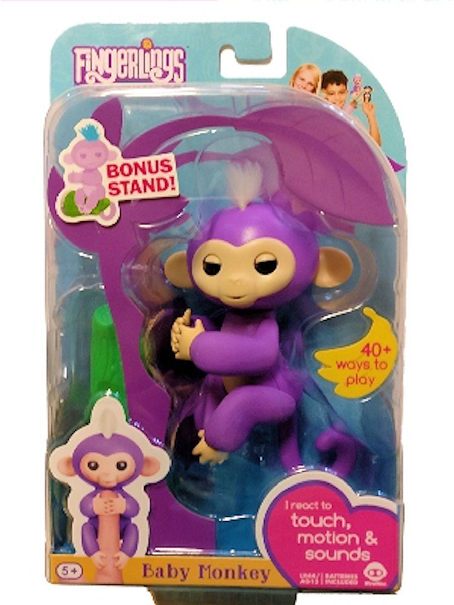 Fingerlings Mia Baby Monkey Interactive Toy Purple BONUS ...
