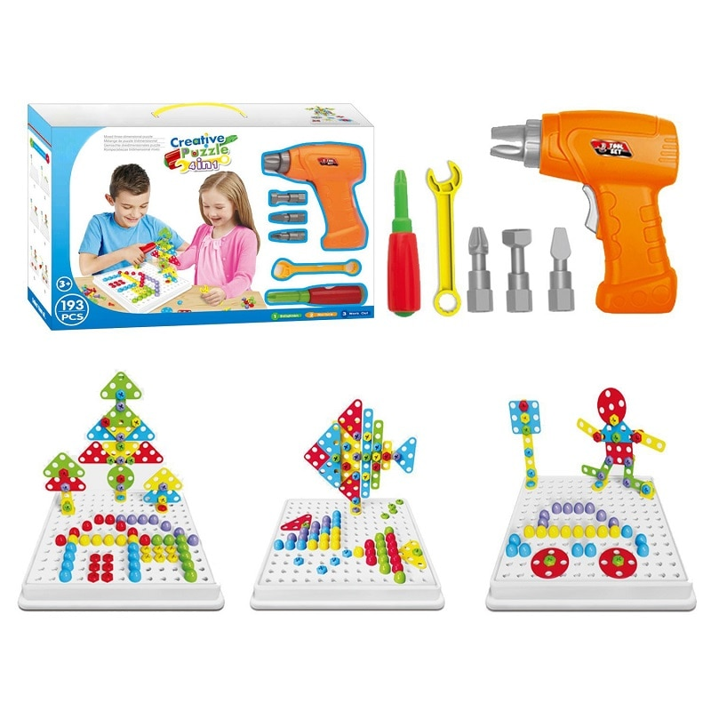 193 Pcs/Set STEM Learning Educational Design and Drill toy ...